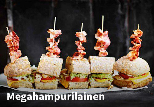 Megahampurilainen, Resepti: Valio #kauppahalli24 #resepti #hampurilainen #hamppari #verkkoruokakauppa #ruokaanetistä