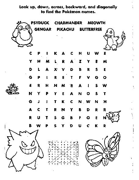 Word Search Pokemon Coloring Pages