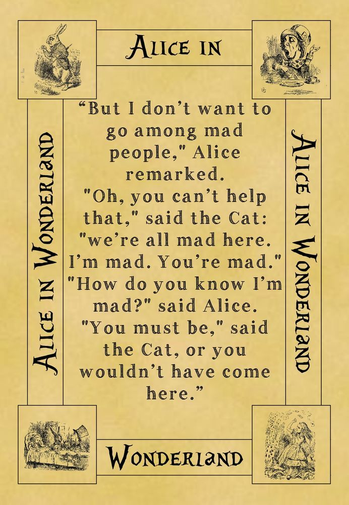 A4 Parchment Poster Alice in Wonderland - Quote All Mad Here - Greetings Option