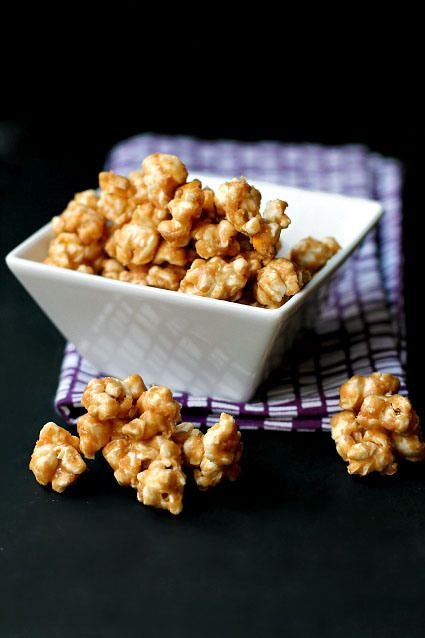 Homemade peanut butter popcorn. It looks heavenly and really not too bad for you. It's just popcorn, peanut butter, and agave. Is there a sub for agave syrup?