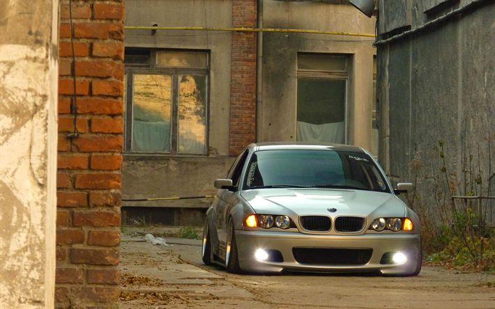 Télécharger fonds d'écran BMW M3 tuning, E46, la posture, la BMW série 3, low rider, de l'argent m3, BMW