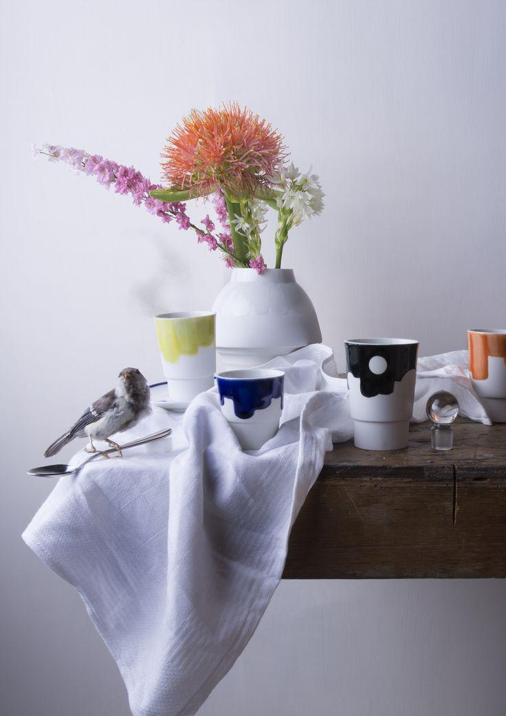 Handgemaakt porselein, bekers en espressokopjes