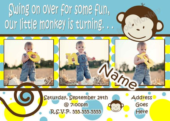 Mod Monkey Invitation Mod Monkey invite Photo - 1st Birthday Party Boy pictures invite - 1 year old (multiple options available). $17.99, via Etsy.