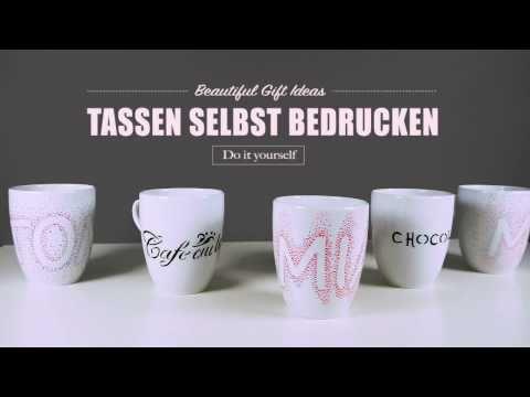 Tassen bemalen / Tassen bedrucken - toll als Geschenkidee oder für die Küche - YouTube