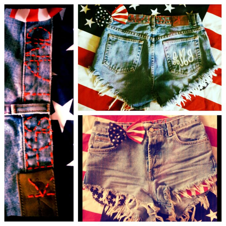 DIY American flag shorts perfect for 4th of July outfit. Follow me on Instagram for other cool designs @Alex Jones McClure. Etsy store coming soon