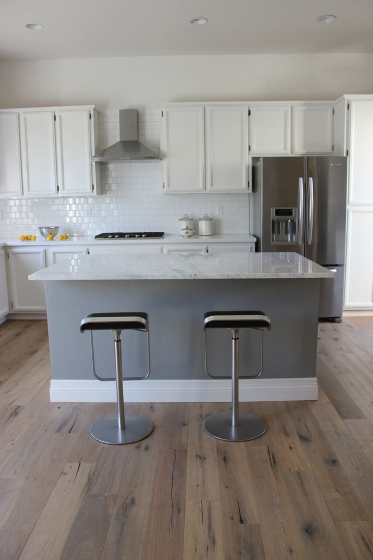 Kitchen:Kitchen Minimalist Small Kitchen Decoration And White Subway Tile Kitchen Backspla Using Light Gray Wood White Granite Kitchen Island Including Stainless Steel Mounted Ceiling Kitchen Island Vent Hood Kitchen Islands Design With Hood Vent Ideas Pictures
