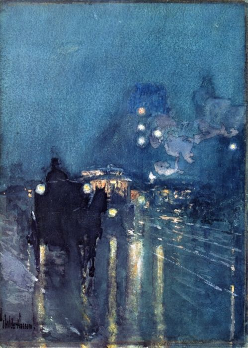 Nocturne, Railway Crossing, Chicago - watercolor - Childe Hassam, 1893