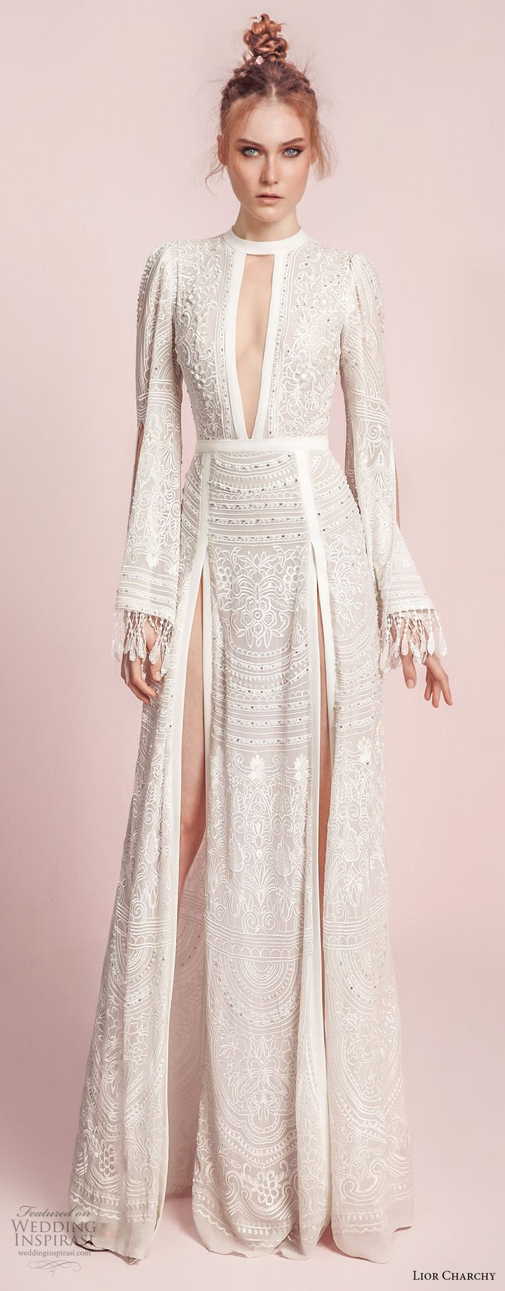 lior charchy spring 2017 bridal long bell sleeves keyhole neck full embellishment double side slit elegant sexy a  line wedding dress sweep train (10) mv -- Lior Charchy Spring 2017 Wedding Dresses