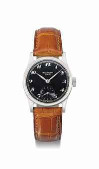 Patek Philippe. A very fine and rare stainless steel wristwatch with black dial and Breguet numerals SIGNED PATEK PHILIPPE, GENÈVE, CALATRAVA MODEL, REF. 96, MOVEMENT NO. 920'276, CASE NO. 620'153, MANUFACTURED IN 1940