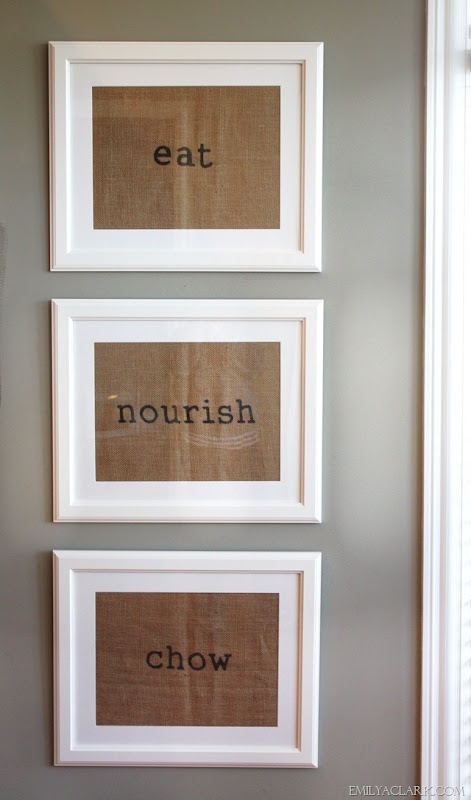 Hmmm... easy burlap & frame DIY project? Add to the frame collage in dining room.