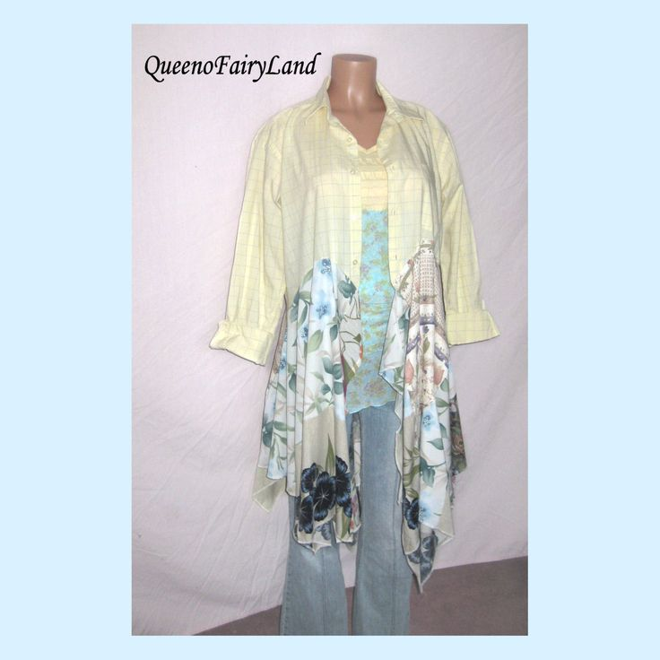 """Upcycled  Cotton Duster Jacket/Tunic, Bust up to 44"""", Boho, Hippie, Junk Gypsy Style, Urban Chic ,Eclectic Tunic, ECO Lagenlook, Q332 by QueenoFairyLand on Etsy"""