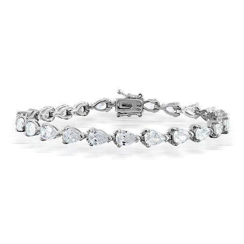 Bling Jewelry Classic Pear CZ Teardrop Bridal Tennis Bracelet Silver Tone 7 Inch