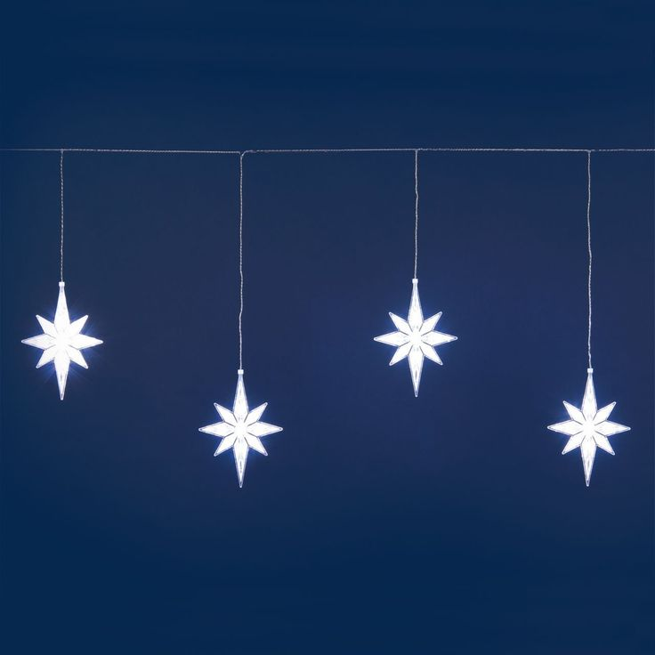 Justmoment LUCI NATALIZIE STALATTITE 2x0,75 m 5 STELLE POLARI 50 LED BIANCHI CON CAVO TRASPARENTE