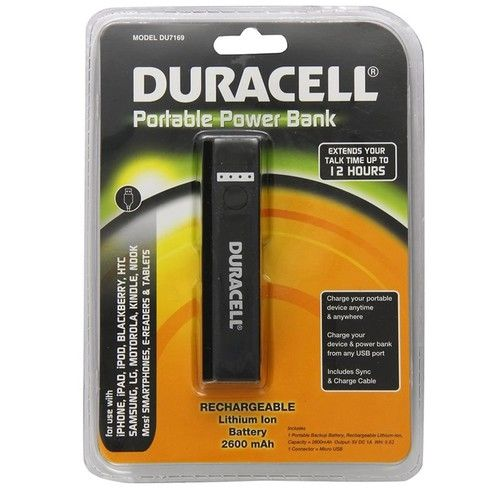 #DU7169 Duracell Portable Power Bank 2600 mAh: iPhone/Android/Tablets/E-Readers