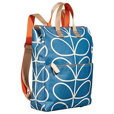 Buy Orla Kiely Giant Linear Stem Canvas Backpack, Marine Online at johnlewis.com
