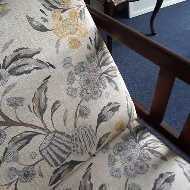 Who Loves A Bit Of Native Australian Foliage A Beautiful Muted Palette From Warwick Fabrics Graces This Miners Couch Warwick Fabrics Upholstery Fabric Fabric