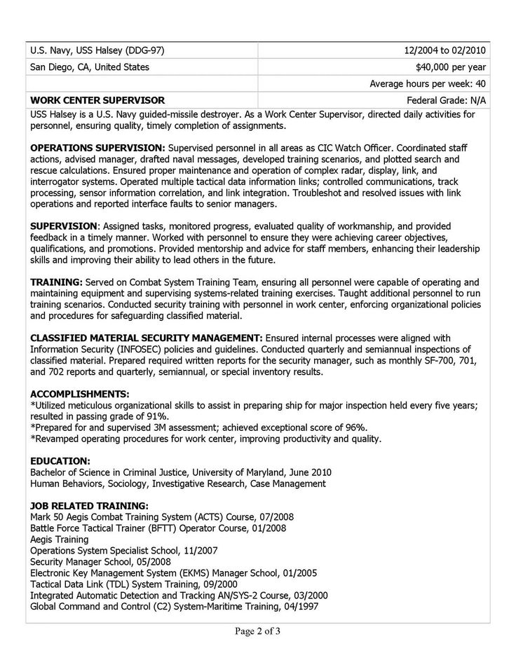 11 best Resumes images on Pinterest Resume cv, Resume help and - federal government resume