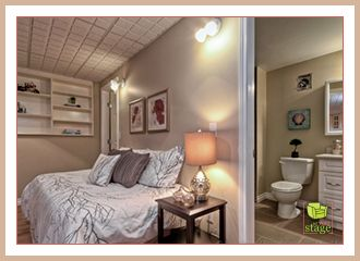 Home staging ideas for empty bonus room / nanny / guest suite.