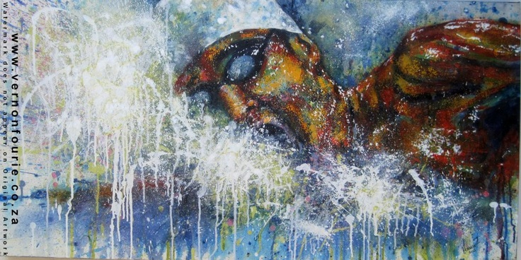 """Dreams of Gold by South African artist, Vernon Fourie. Oil & Mixed Media on Canvas (508x1016)mm 