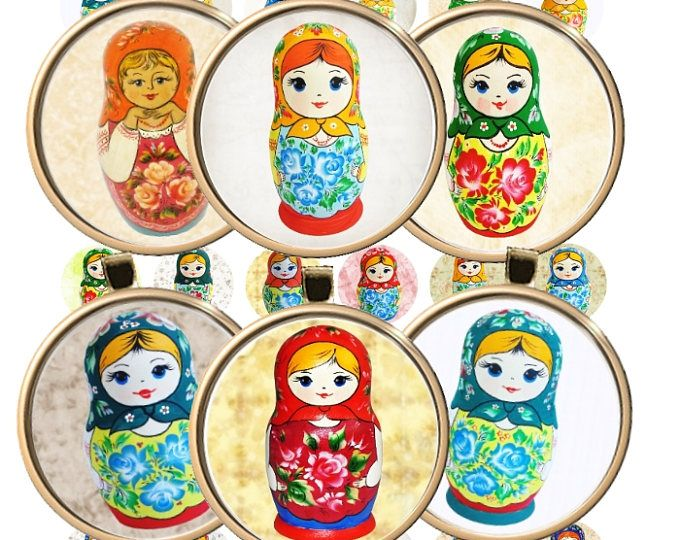 Russian Folk Art Printable Matryoshka Nesting doll Circles Digital Collage Sheet 1 inch (25mm). Printable round images for pendants cabochon