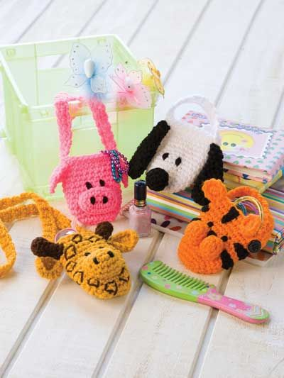 Animal Pocket Pouches Crochet Pattern Download from e-PatternsCentral.com -- This menagerie of little critters creates a variety of fun totes that kids will love using to carry their cellphones, music players or other take-along items.