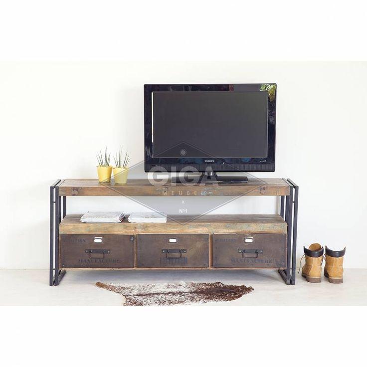 Tv Meubel Industrieel Old Wood 3-laden