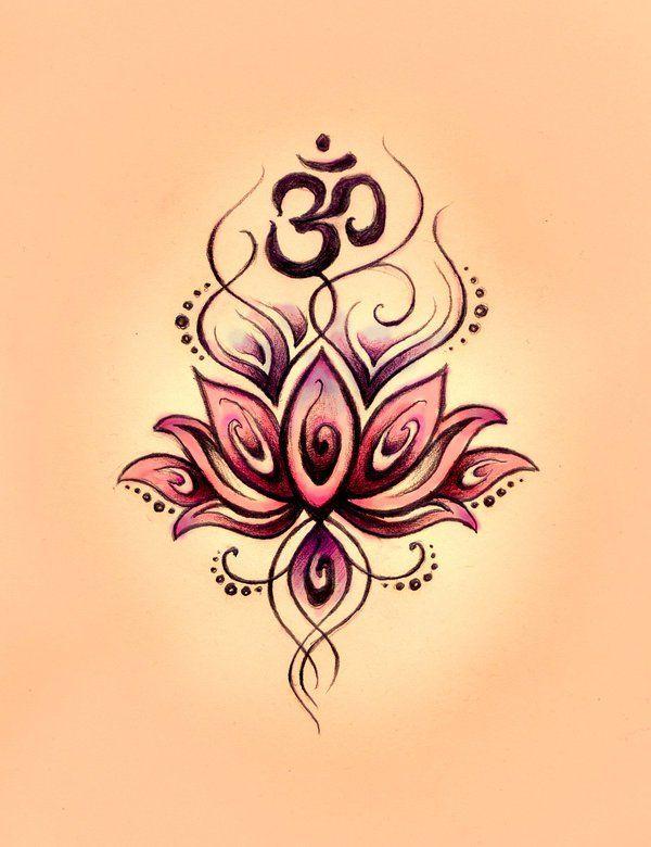 Amazing Om Symbol n Lotus Tattoo Design
