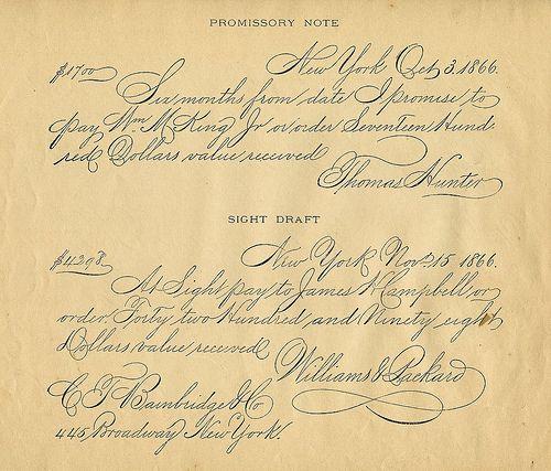 VintageHandwritingEphemera Promissory Note