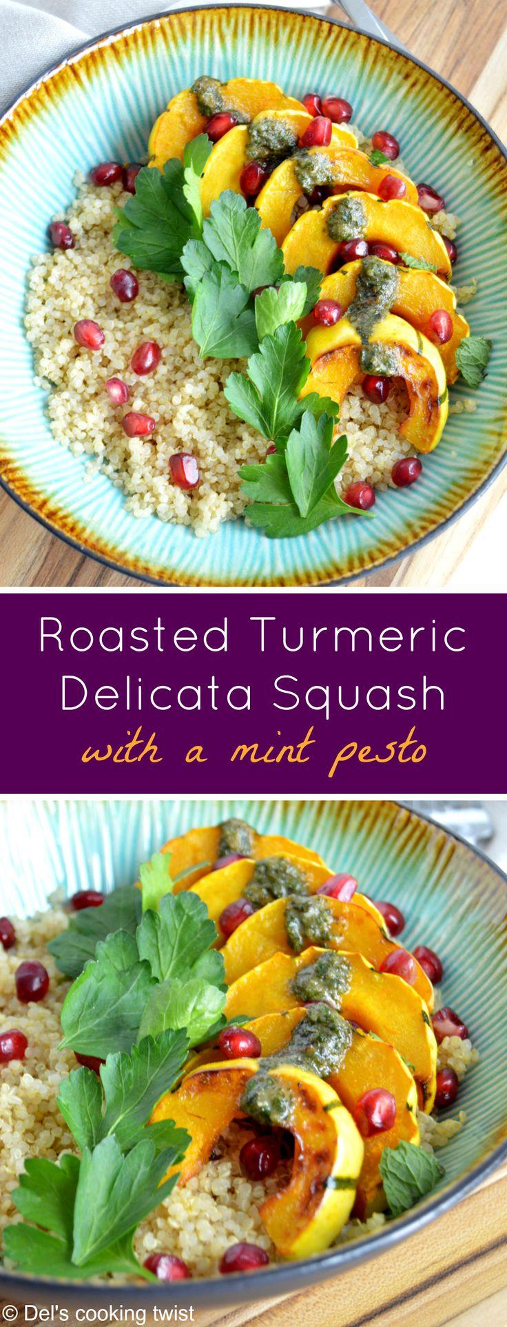 Roasted Turmeric Delicata Squash Quinoa Bowl with a Mint Pesto (Gluten Free)