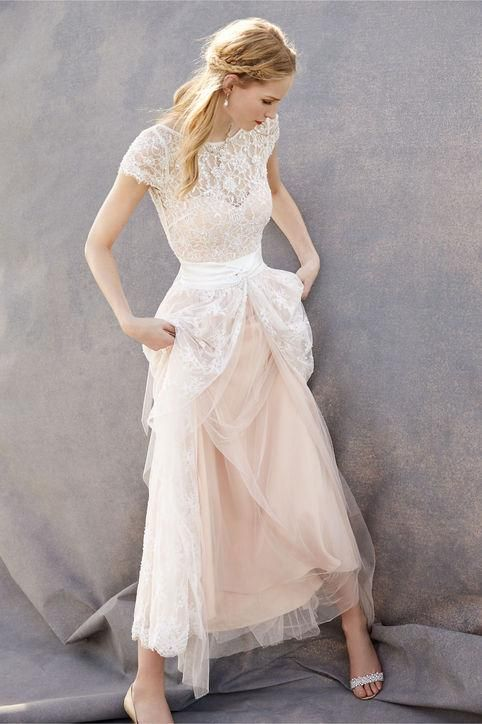 BHLDN Anabelle short lace wedding dress + Julia skirt + Luciana lace topper