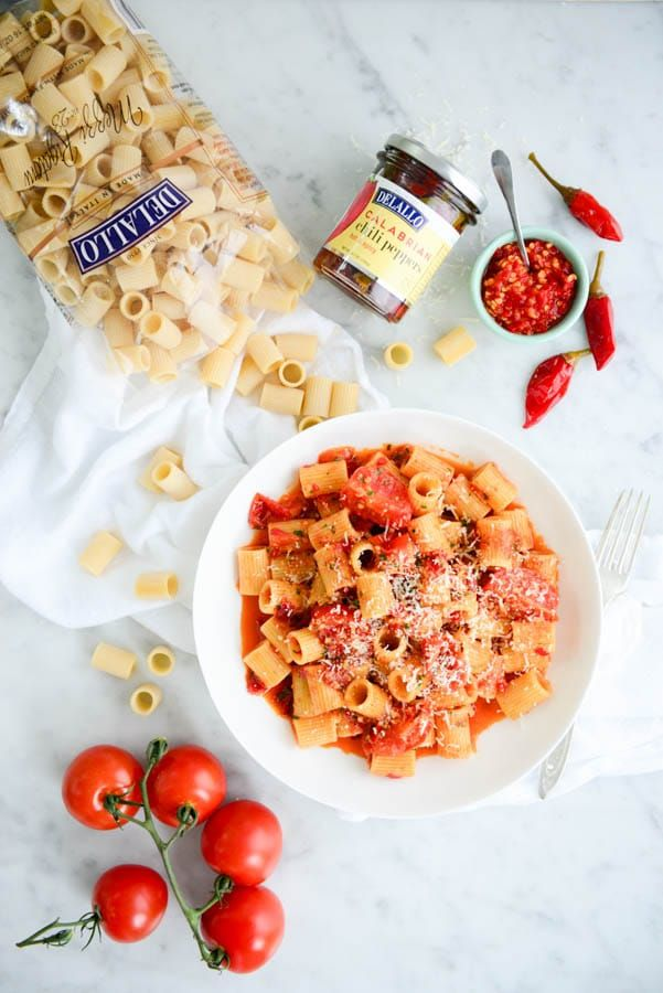 "Spice up your weeknight! ""Calabrian Chili and Tomato Pasta Sauce with Rigatoni"""