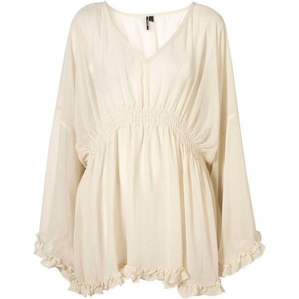 Batwing Elastic Waist Blouse ($90) ❤ liked on Polyvore featuring tops, blouses, dresses, shirts, blusas, women, kimono blouse, kimono shirt, pink shirt and cream top