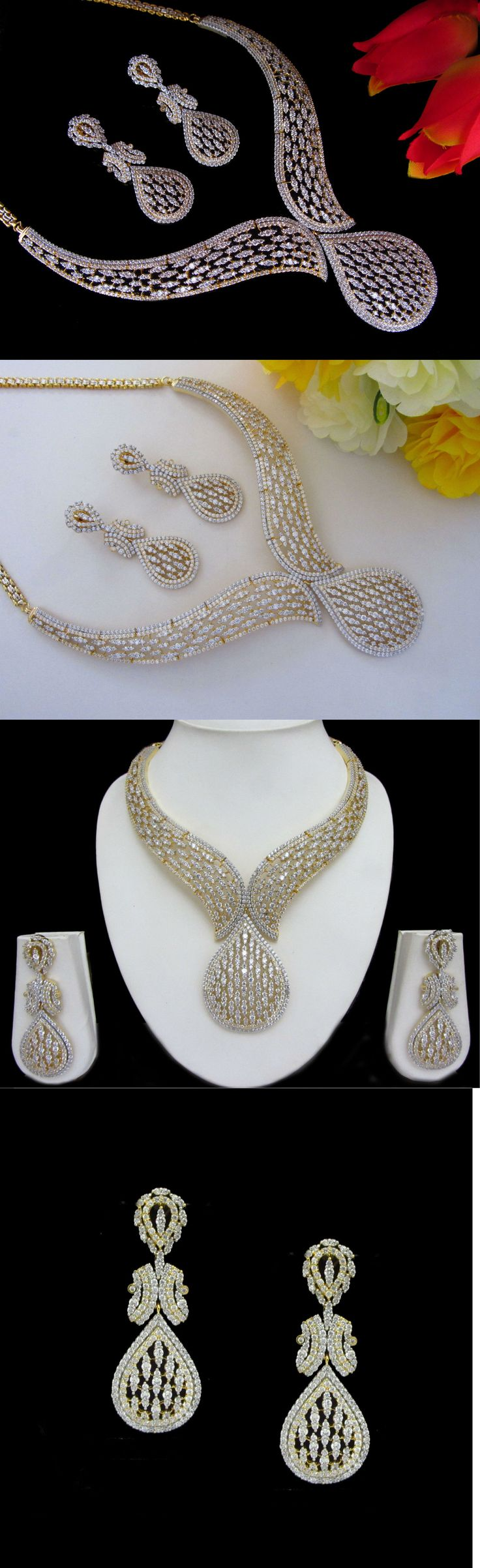 Sets 98513: Cz Ad Indian Necklace Bollywood Famous Ethnic Gold And Silver Swam Jewelry Set 01 -> BUY IT NOW ONLY: $69.99 on eBay!
