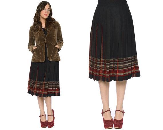 Plaid Pleated Skirt 90s Pendleton Black Wool by GravelGhostVintage, $32.00