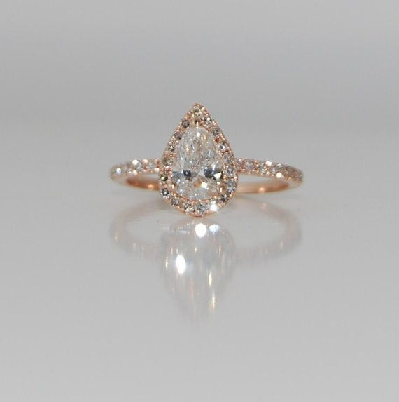 OBSESSED with this. Diamond Rain drop pear 14k rose gold by EidelPrecious, $3000.00