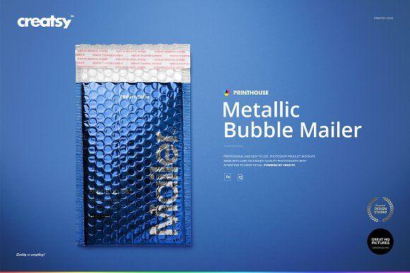 Download Metallic Bubble Mailer Mockup Set Stationery Mockup Bubbles Mailer