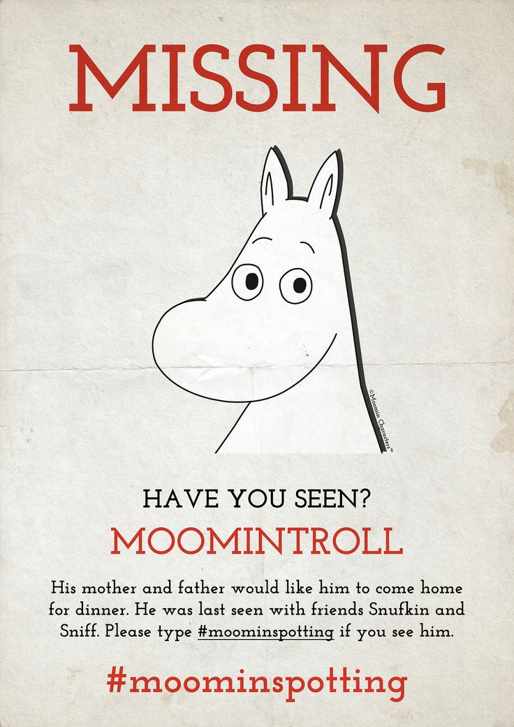 HAVE YOU SEEN THE MOOMINS? - #moominspotting Spot Moomin and win a Tove100 Limited Edition mug! UPDATE: There are now two mugs up for grabs. Keep those awesome #moominspotting photos coming! The Moomins are a global phenomenon that can be seen in virtually all corners of the world and we wish to bring all Moomin fans together. That's why we came up with #moominspotting. We want you to snap a photo of one of the Moomin characters whenever you see Moomintroll, Little My or any of the ...
