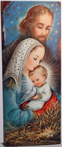 Love the artwork on this vintage nativity scene  Christmas card from the 1960s.