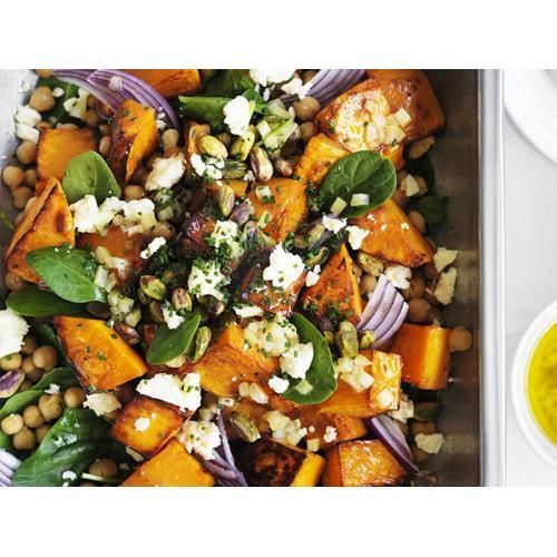 Roast pumpkin, feta and chickpea salad recipe - By Australian Women's Weekly, Toasted pistachios and preserved lemon add crunch and interest to this roast pumpkin, feta and chickpea salad.