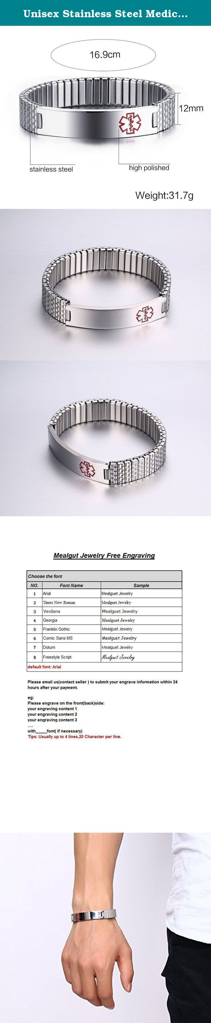 Unisex Stainless Steel Medical Alert ID Stretch Bracelet for Men and Women, Free Engraving. This Medical Bracelet are made of durable premium grade non allergenic stainless steel, it's sturdy and never fade! Common reasons for wearing a Medical Identification Bracelets are: - (1) Physical Allergies including Insect Bites, Pollens, Food Types - (2) Physical Conditions including Heart Conditions, Seizures, RNY Gastric Bypass, Asthma - (3) Medical Allergies including Medicines, Latex…