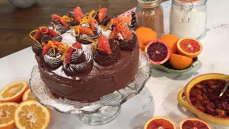 Squidgy blood orange chocolate cake