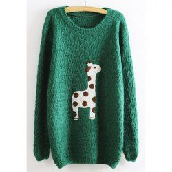 $15.60 Sweet Round Neck Cute Giraffe Print Loose Fit Long Sleeve Christmas Sweater For Women