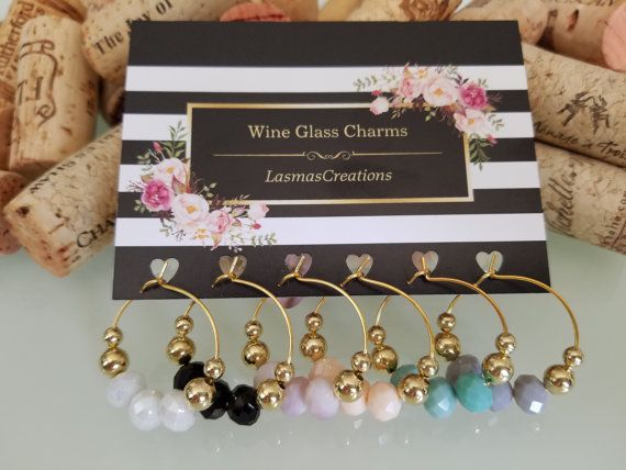 Gold Wine Glass Charms Gold Wine Charm Favors by LasmasCreations