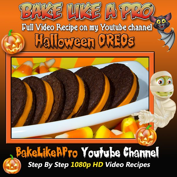 """Homemade Halloween """"Oreo"""" Style Cookies Recipe ! Please SUBSCRIBE: ► http://bit.ly/1ucapVH  I'll show you how easy it is to make this Oreo style vanilla wafer cookie from scratch !  To see me make the chocolate cookie dough, this video is here: ► http://youtu.be/-IXtnUHs2kg  Happy Halloween !  My Facebook Page: http://www.facebook.com/BakeLikeAPro  Please subscribe, like and share if you can, I do appreciate it. ► http://bit.ly/1ucapVH"""