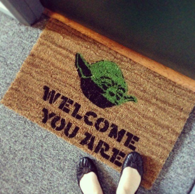 If you try to imagine your indoors nothing less than the Galactic Empire, welcome your guests in that style itself by placing the Star Wars #Yoda #Doormat
