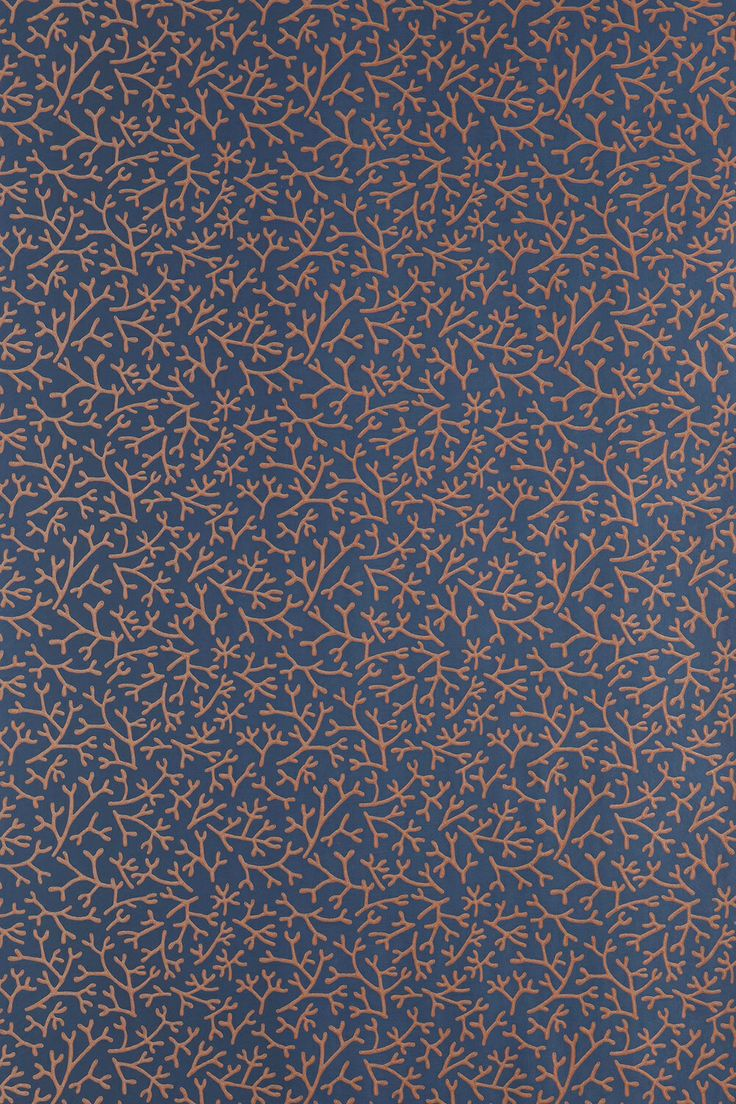 Farrow and Ball Samphire wallpaper, coral on blue... New for 2014