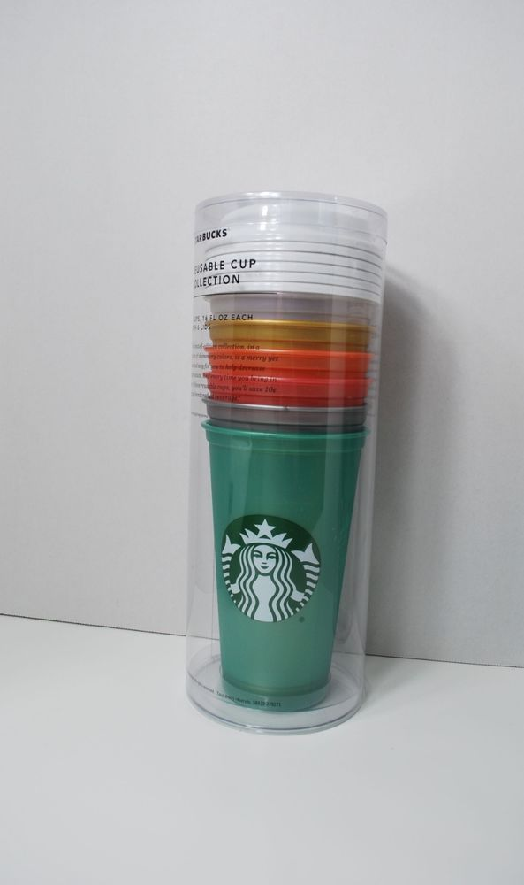 New Starbucks 2017 Reusable Cup Collection Set of 6 Designs Colors w//Lids 16 oz