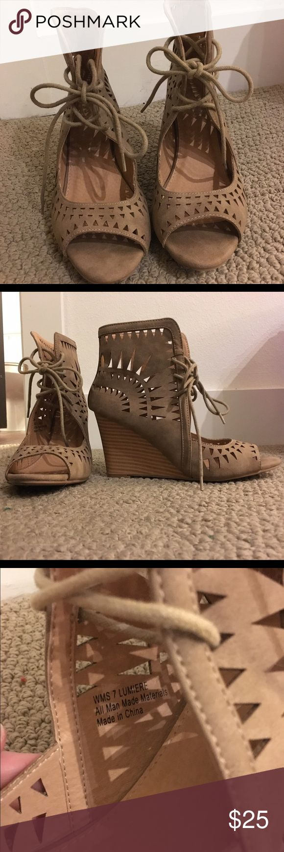 Tan/Camel lace up wedges Worn 1-2 times max. Size 7. Great condition! Report Shoes Wedges
