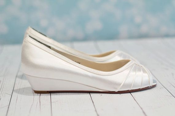 Wedge Wedding Shoes Choose From Over 100 Colors - Wide Size Wedge Available - Bridal Shoes For Outdoor Weddings - Peep Toe Wedge Shoes