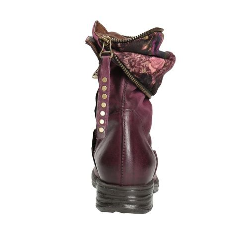 Kožená kotníčková obuv se zipem a-s-98, fialová, 616-5033 - 16
